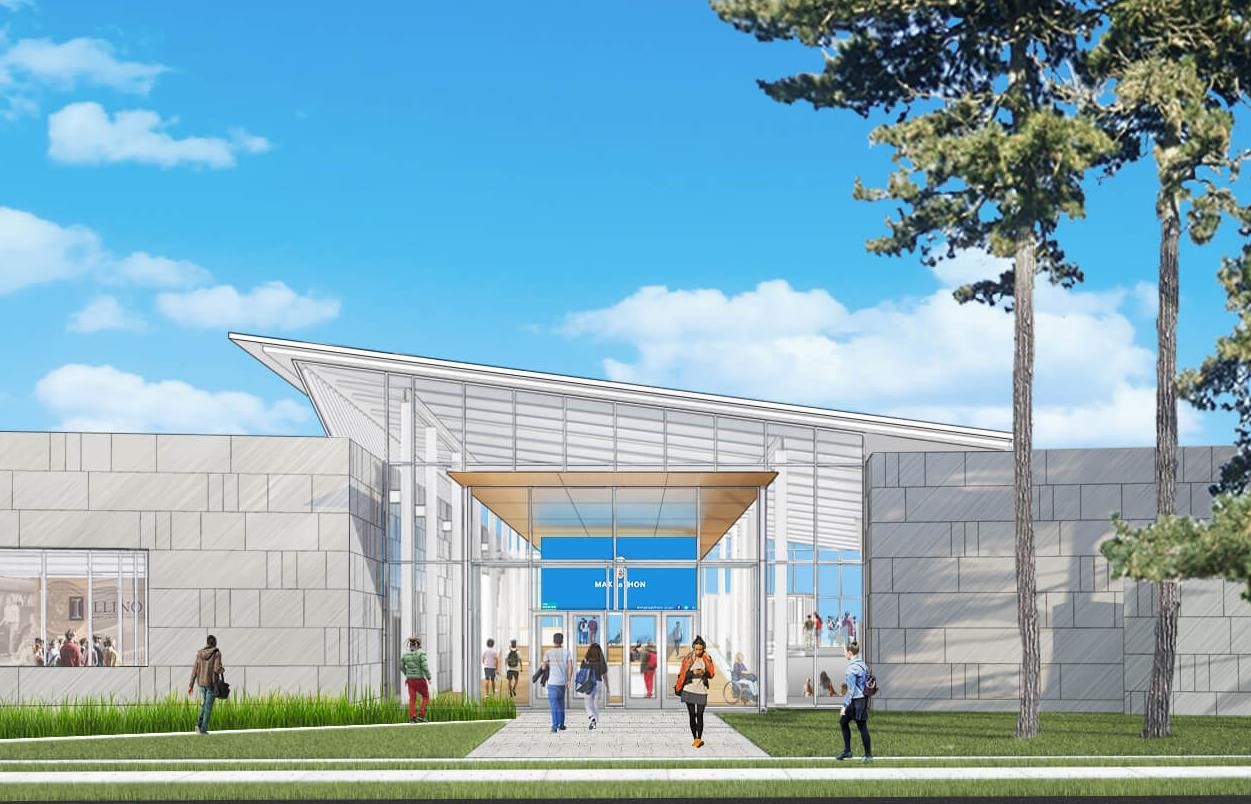 a drawing of the exterior of the future Siebel Center for Design at Illinois