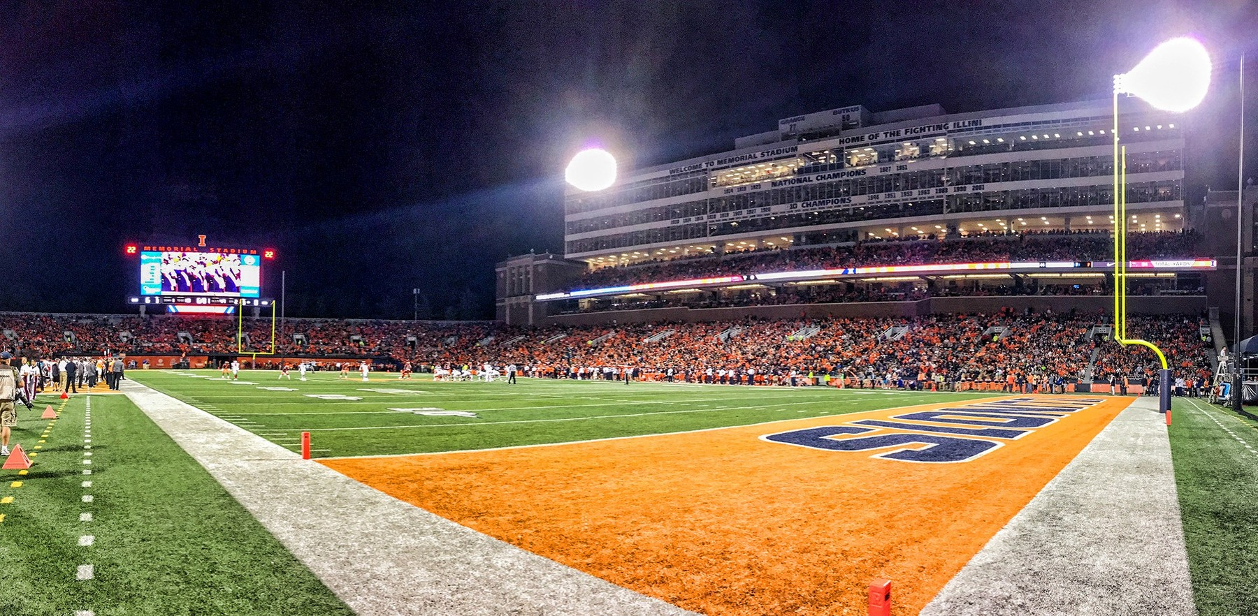 Memorial Stadium on a game night