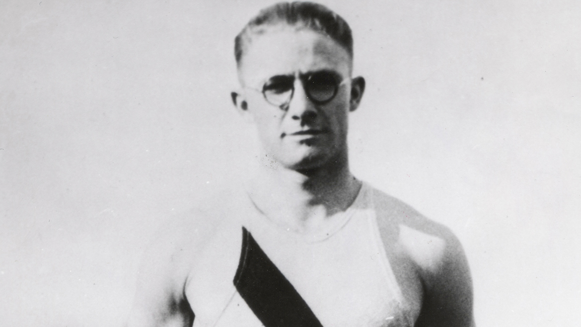 Harold Osborn in an Illini track uniform