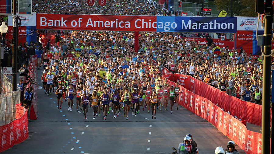Bank of America Chicago Marathon banner as runners begin the 2016 race