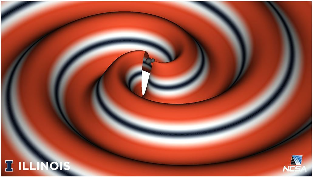graphic of gravitational wave via NCSA