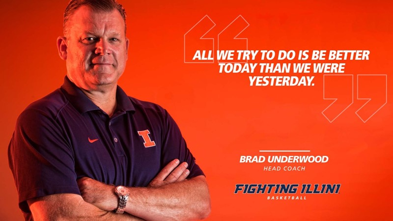 """Graphic showing Coach Underwood with his quote, """"All we try to do is be better today than we were yesterday."""""""