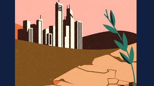 graphic of urban area with weeds growing through cracked earth. By Michael Vincent