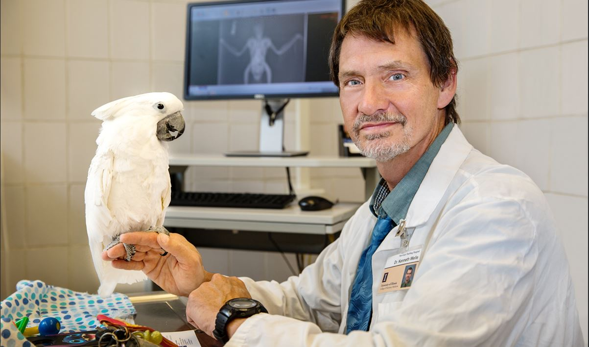 Dr. Ken Welle with a cockatoo