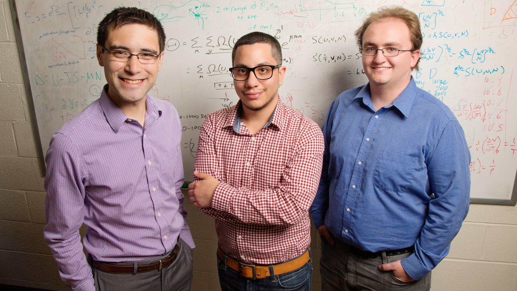 chemical and biomolecular engineering professor Charles Sing,and graduate students Jason Madinya and Tyler Lytle, co-authors. Photo by L. Brian Stauffer