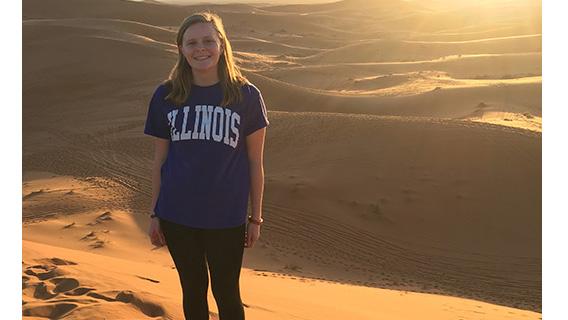 Illini senior Jenna Davis in the desert in Morocco in Jan 2017
