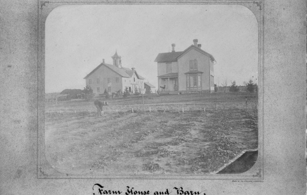 Farm house and barn archival photo from UI Archives