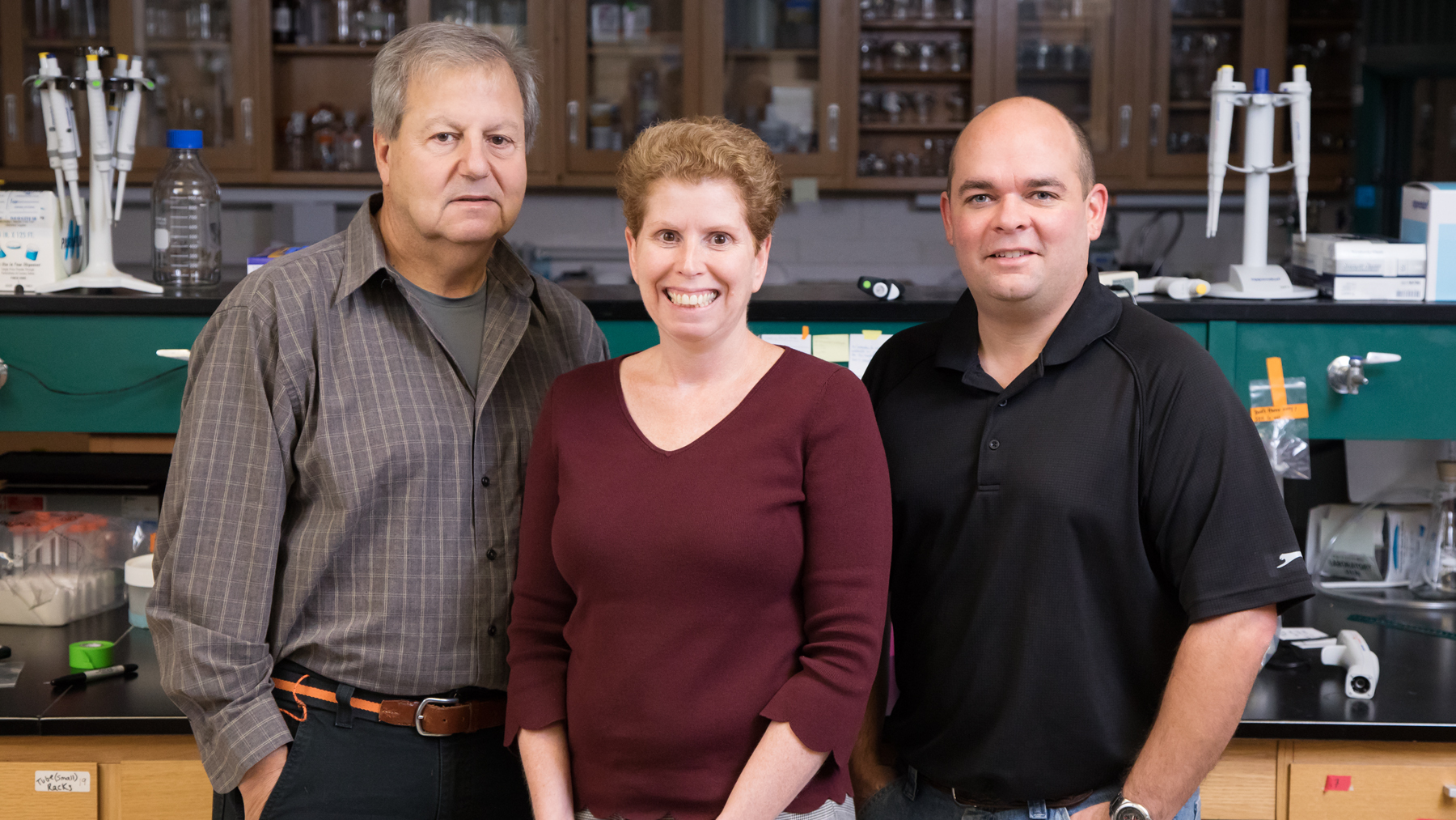 food science and human nutrition professor William G. Helferich, comparative biosciences professor Jodi A. Flaws and animal sciences research specialist James A. Hartman. Photo by Brian Stauffer