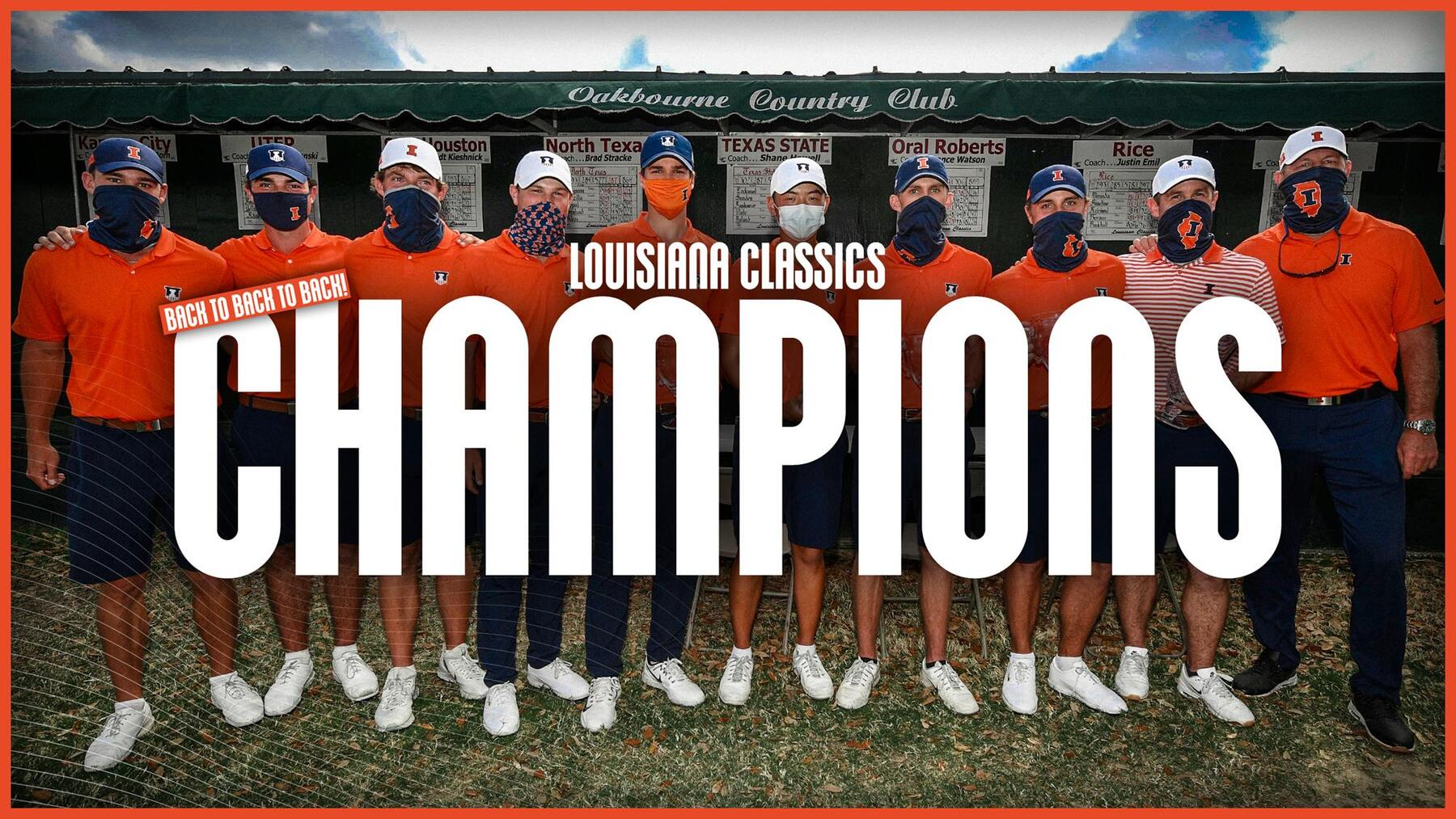 men's golf team stands in a line. Text reads, 'Louisiana Classic Champions'