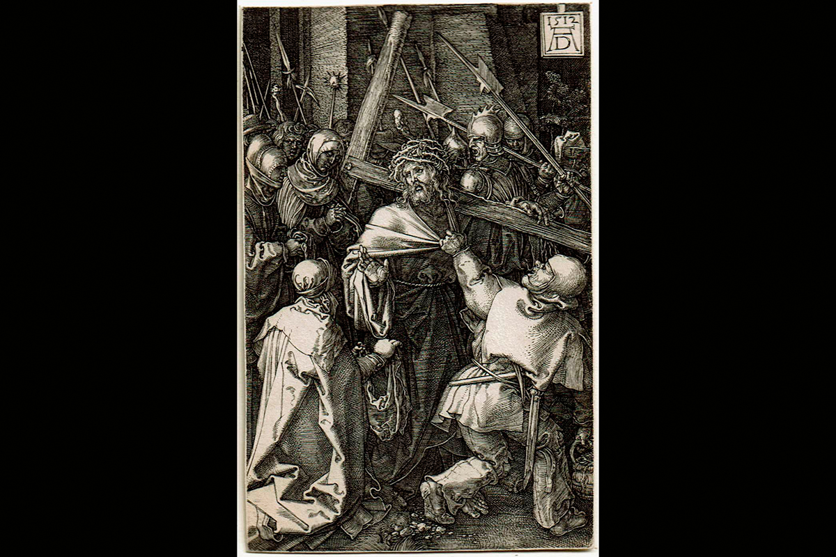 """Albrecht Durer (German, 1471–1528), """"Christ Carrying the Cross,"""" from the Engraved Passion series, 1512. Courtesy KAM"""