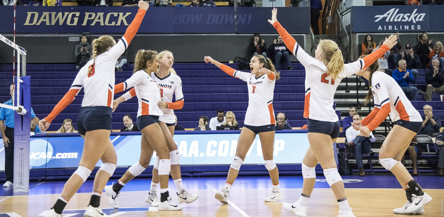 Illini volleyball team on-court celebration