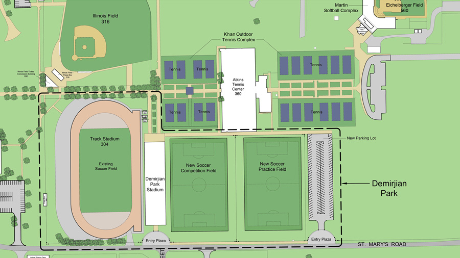 map of the planned Demirjian Park facilities