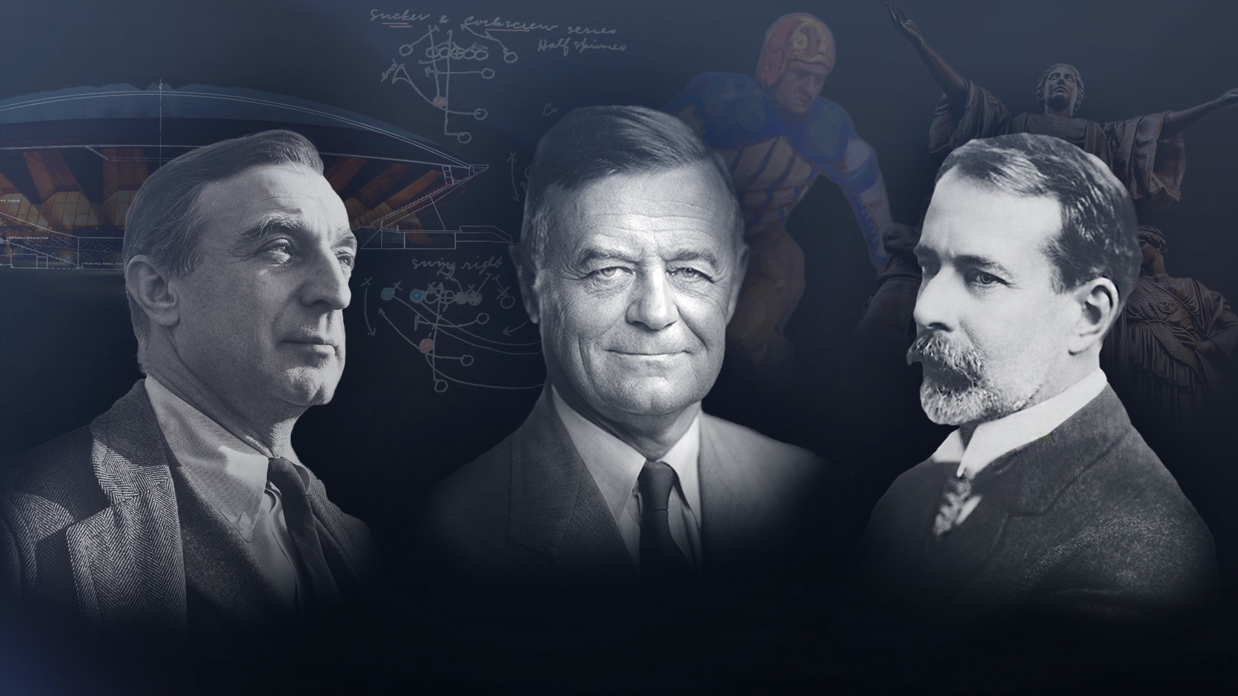 graphic image featuring portraits of architect Max Abramovitz, football coach Robert Zuppke, and sculptor Lorado Taft