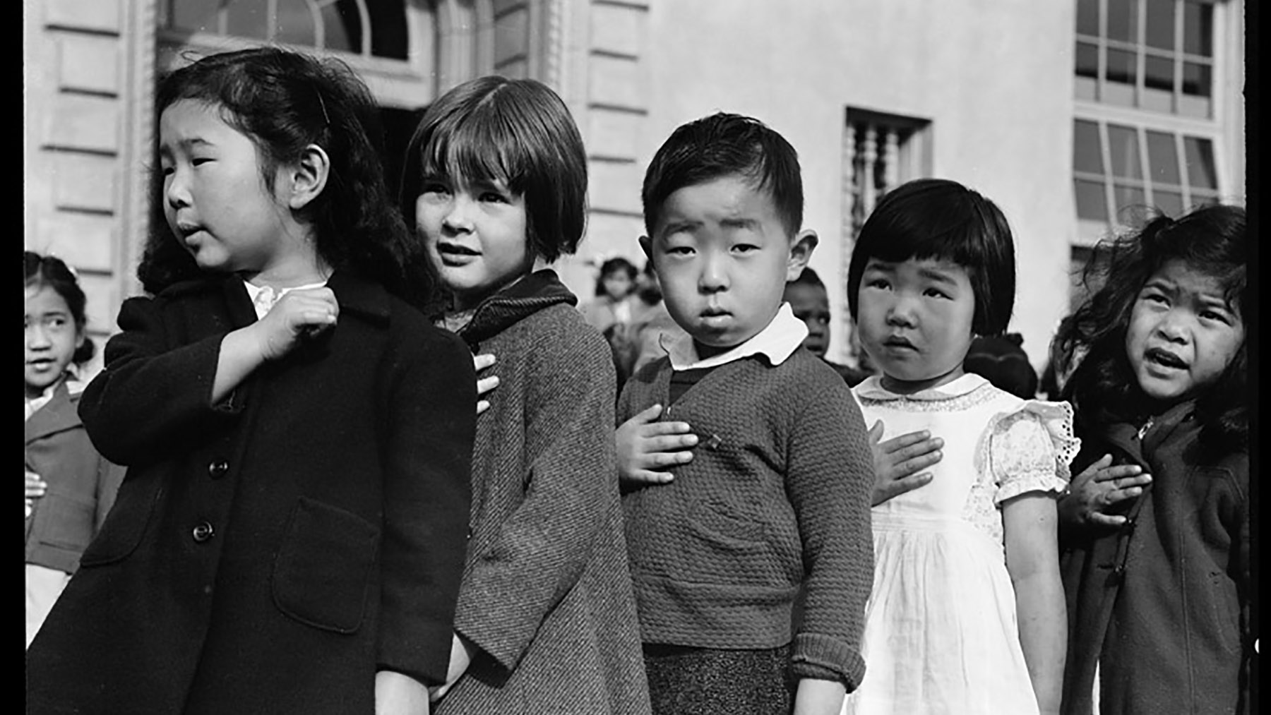 Japanese-American children reciting the Pledge of Allegiance. Photo by Dorthea Lange