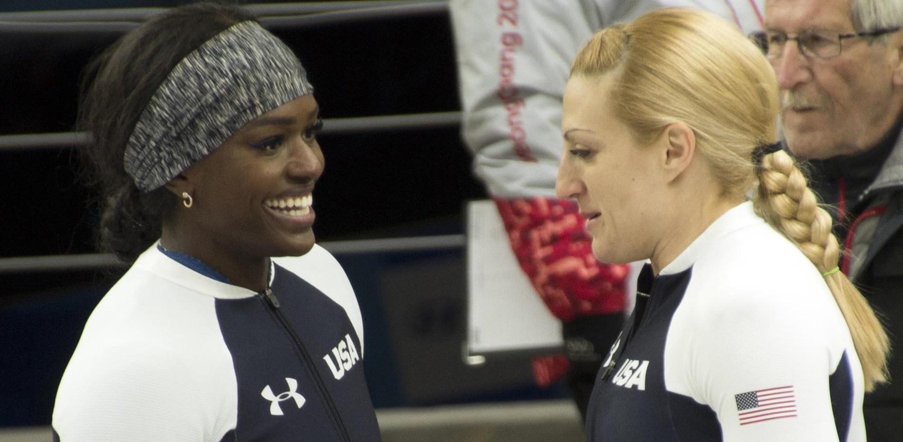 U.S.  bobsledders Aja Evans and Jamie Greubel Poser