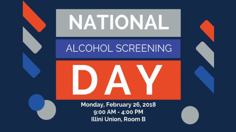 text graphic for national alcohol screening day at Illinois