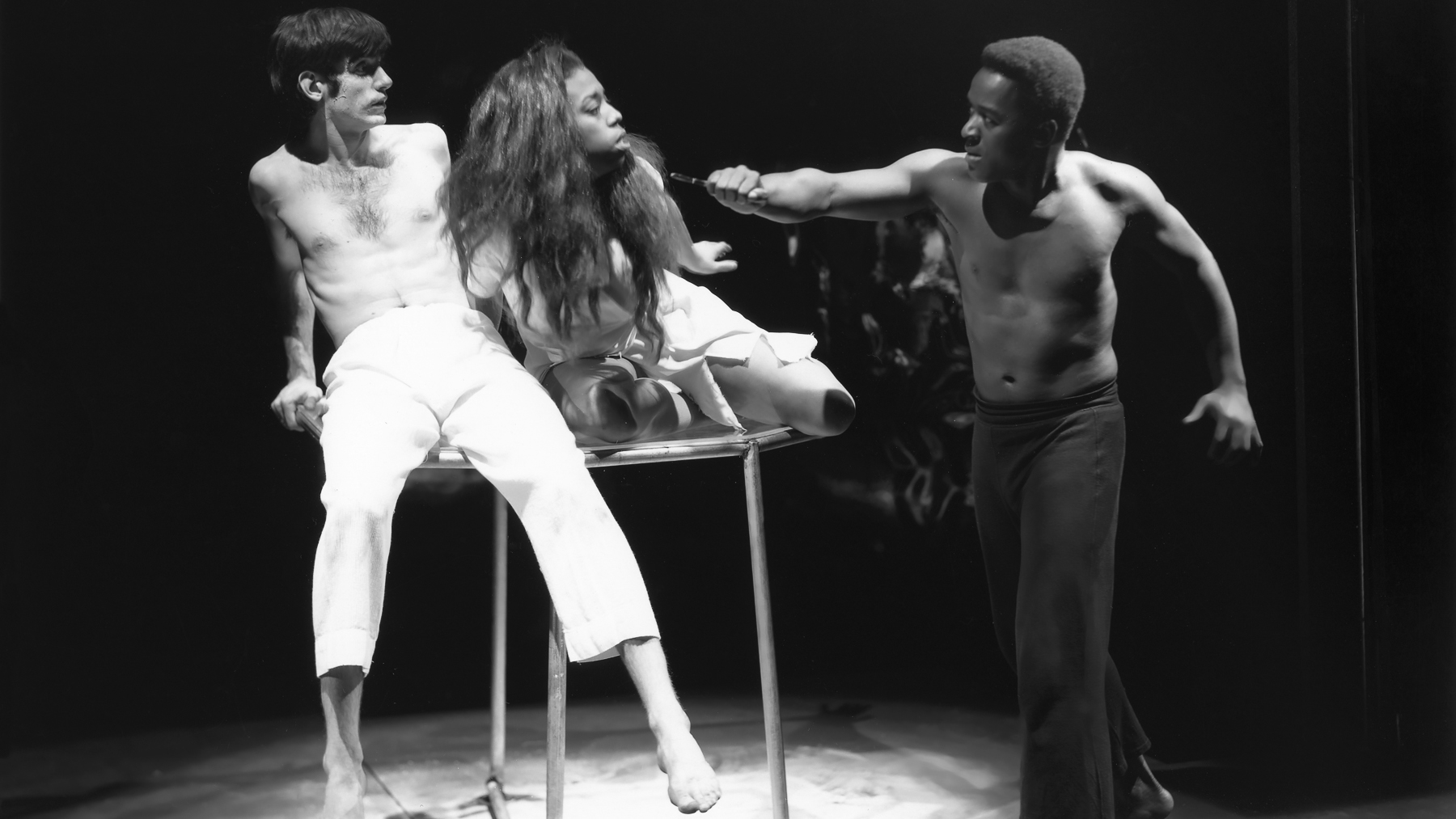 "scene from a 1967 University of Illinois theatre department production of ""Cat Orestes,"" with actress Lynne Thigpen"
