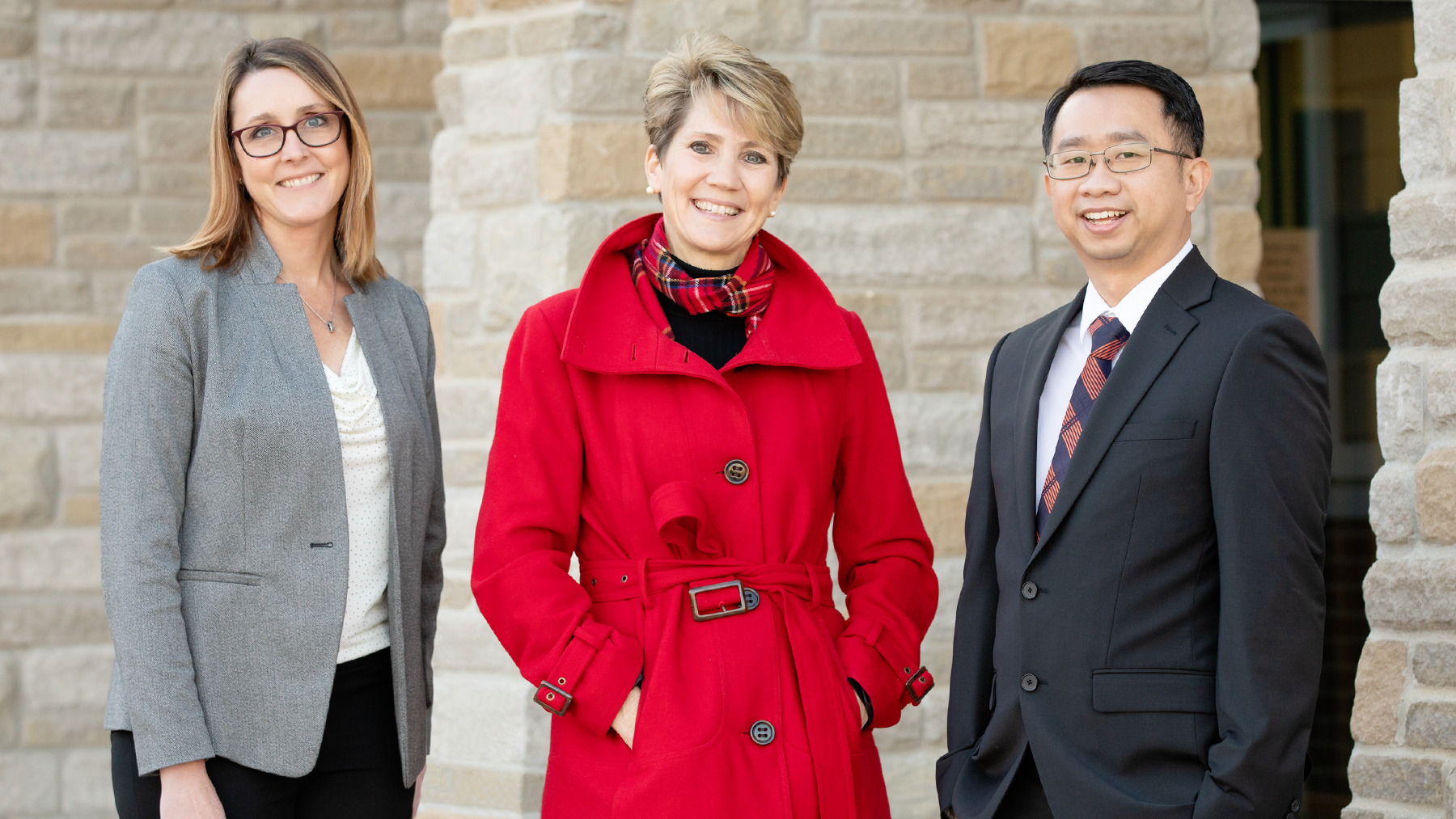 Social work professor Kevin Tan with from left: director of instruction Nicole Rummel and superintendent Lindsey Hall, both of Mahomet-Seymour CUSD No. 3. Photo by Fred Zwicky