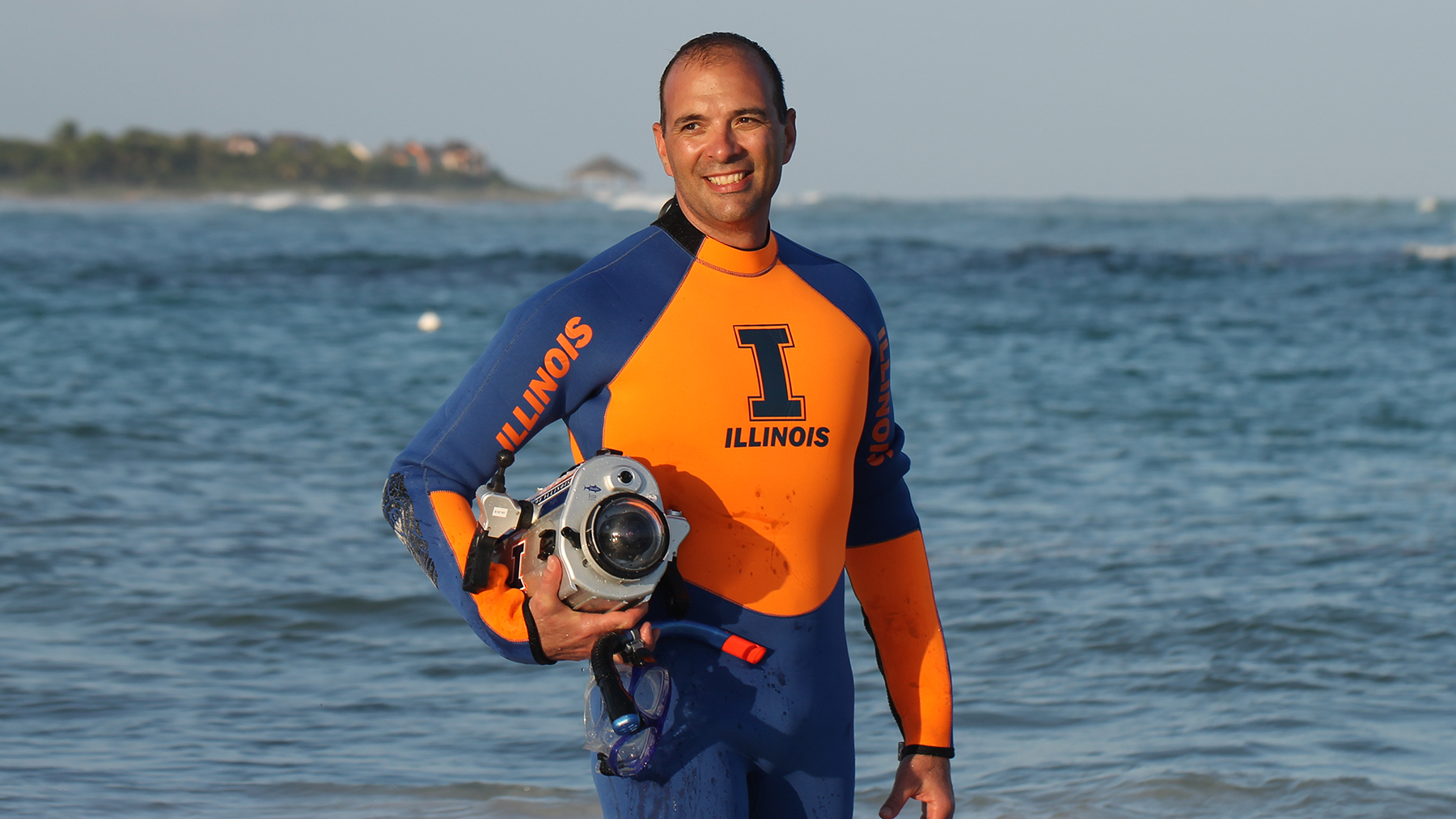 Professor Victor Gruev in a wetsuit. Photo courtesy of Victor Gruev