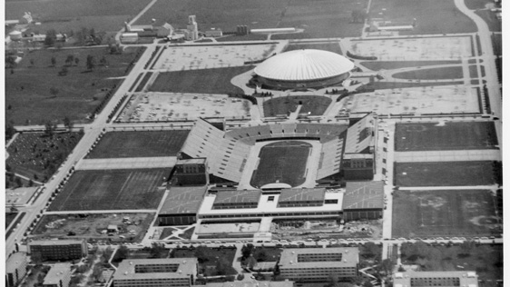 aerial view of south campus, including Memorial Stadium and State Farm Center, ca 1960s