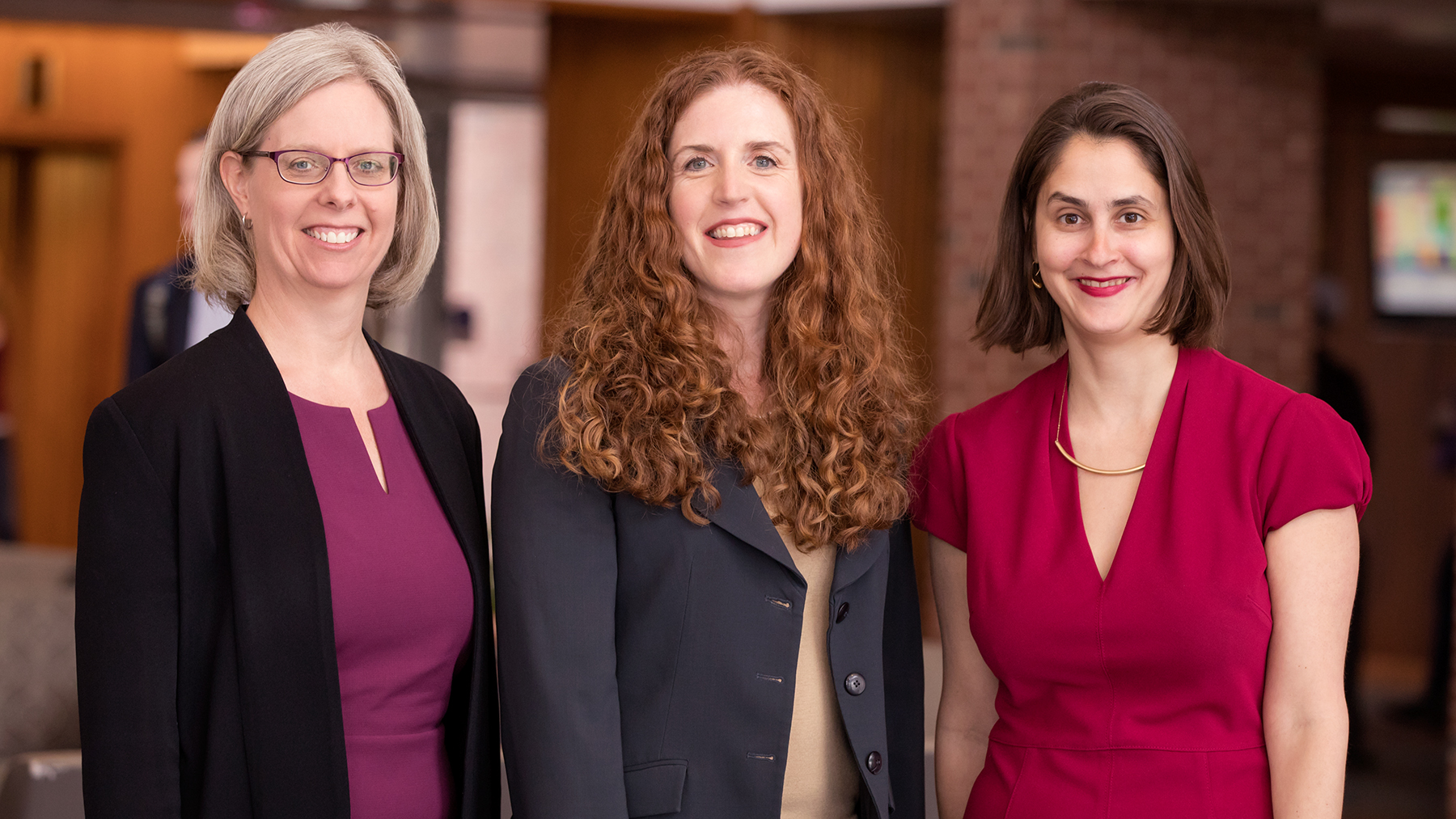 Jennifer Robbennolt, the associate dean for research at the College of Law and co-director of the Program on Law, Behavior, and Social Science; Colleen Murphy, the director of the Women and Gender in Global Perspectives Program at Illinois; and Lesley Wexler, a professor of law. Photo by Leslie Brian Stauffer