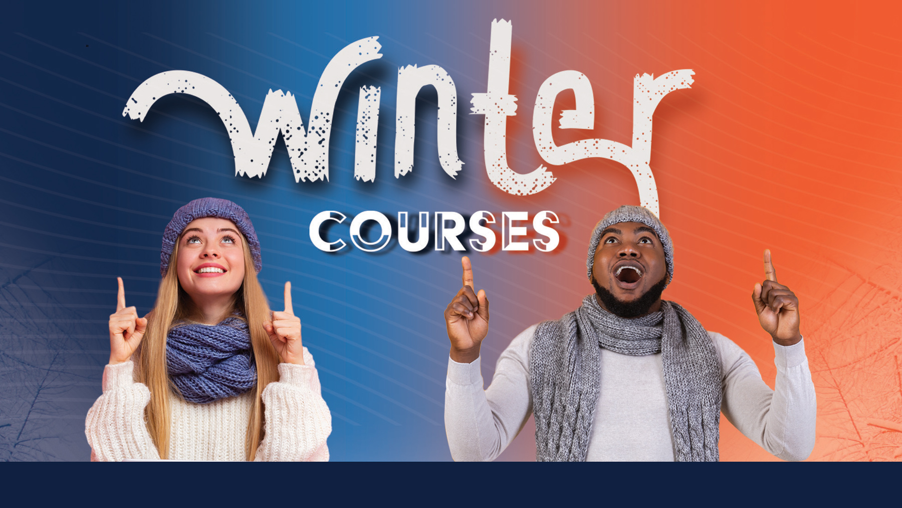 two students in winter attire are thrilled about taking an online course