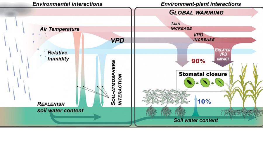 graphic illustrates atmospheric dryness, often expressed as vapor pressure deficit (VPD)