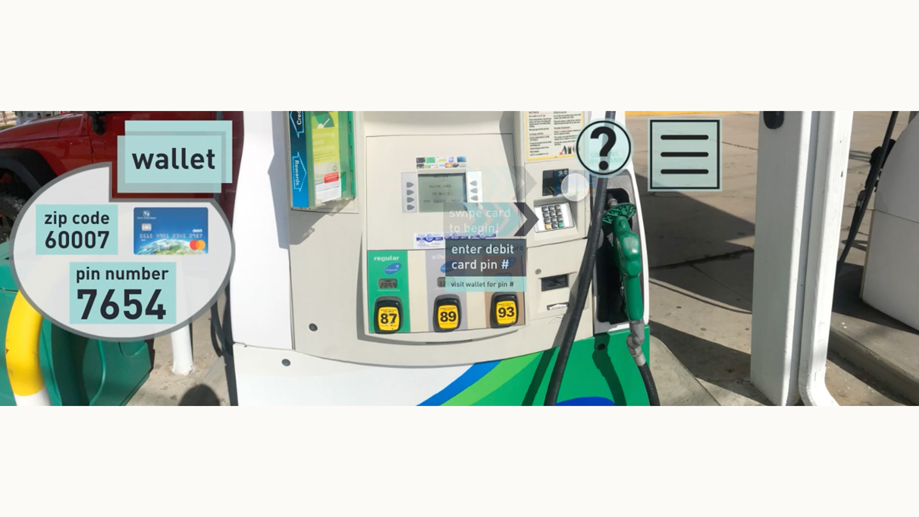 University of Illinois design students created immersive reality scenarios to help people who are soon to be released from prison meet certain challenges, such as learning to pay at the pump for gas. photo courtesy of LIsa Mercer