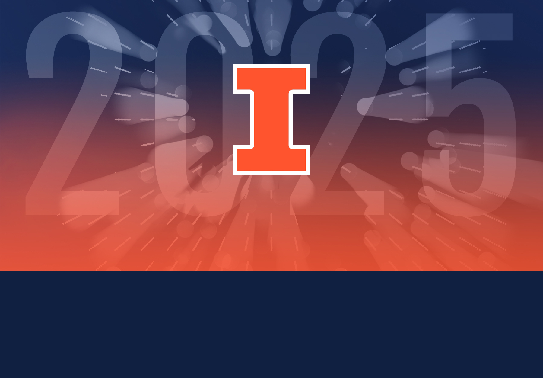 Orange and blue graphic features the Block I and the year 2025