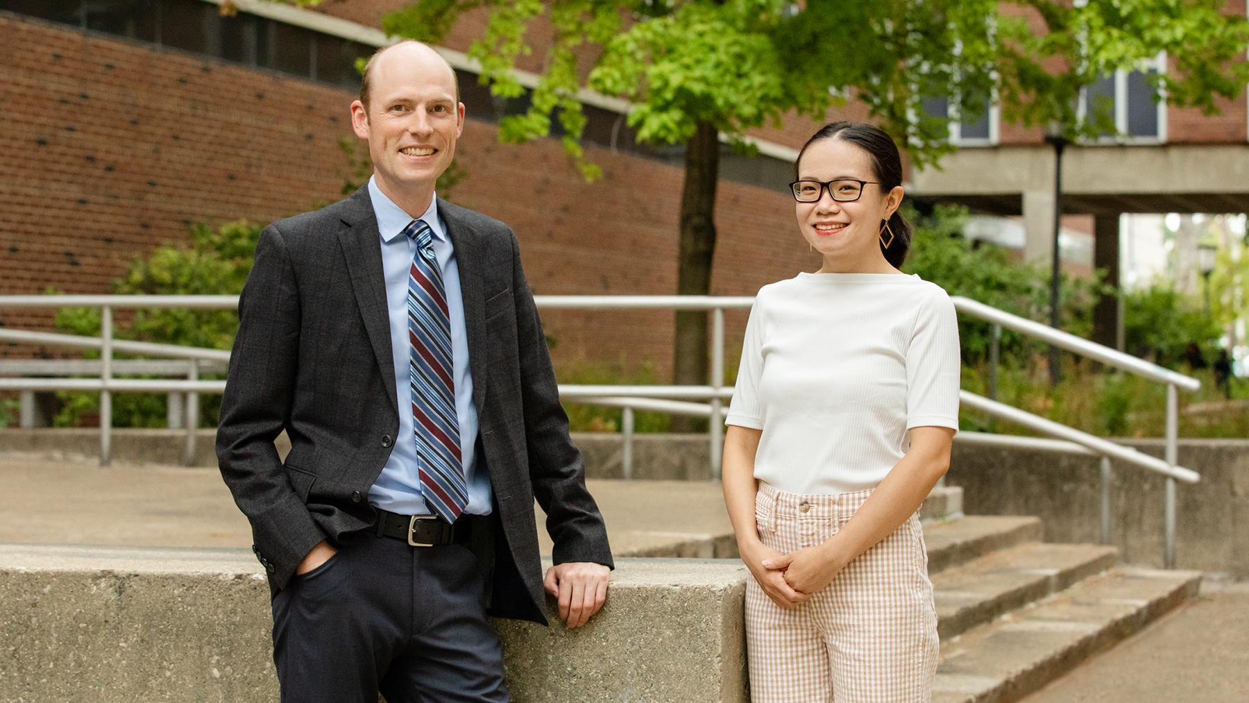 professor Erik Nelson and graduate student Liqian Ma. Photo by Brian Stauffer