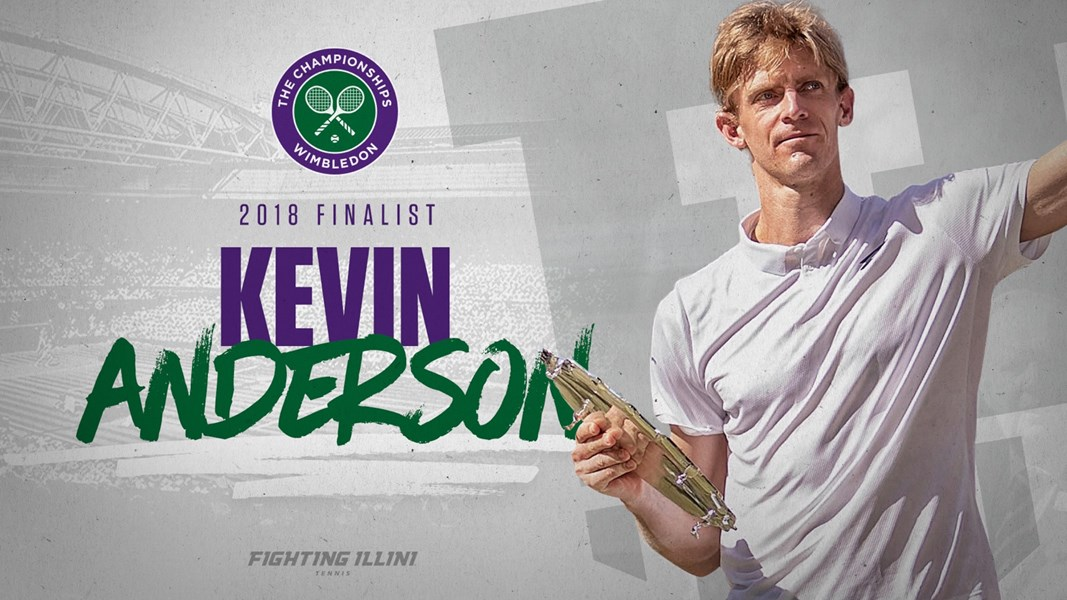 Kevin Anderson with Wimbledon Championship logo