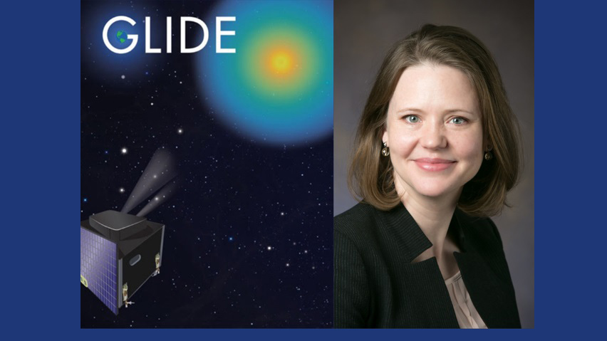 illustration of the GLIDE project beside a portrait of Lara Waldrop