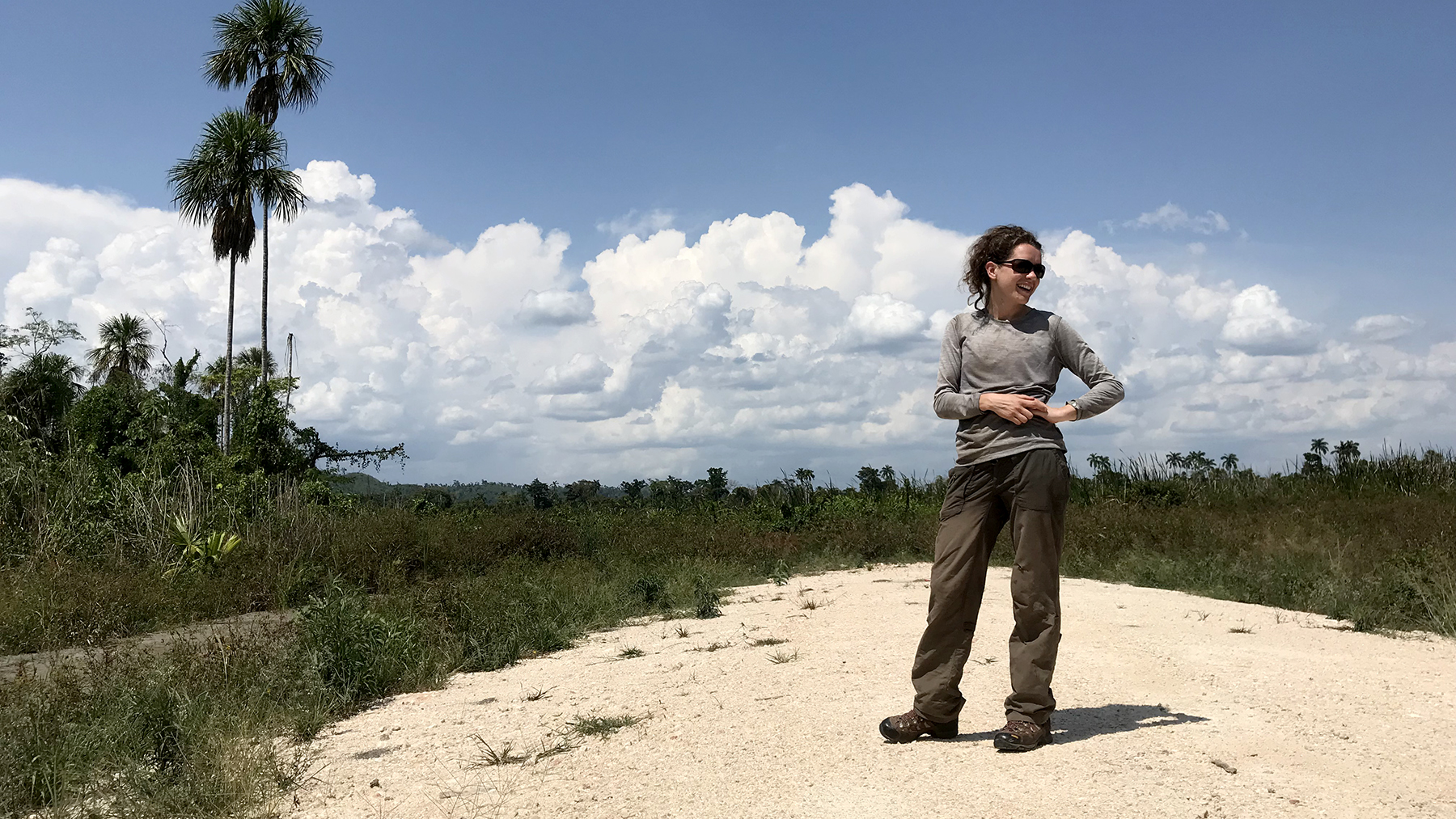 1.	U. of I. graduate student Jeannie Larmon surveys the landscape before the trek. Photo by Thomas Franklin
