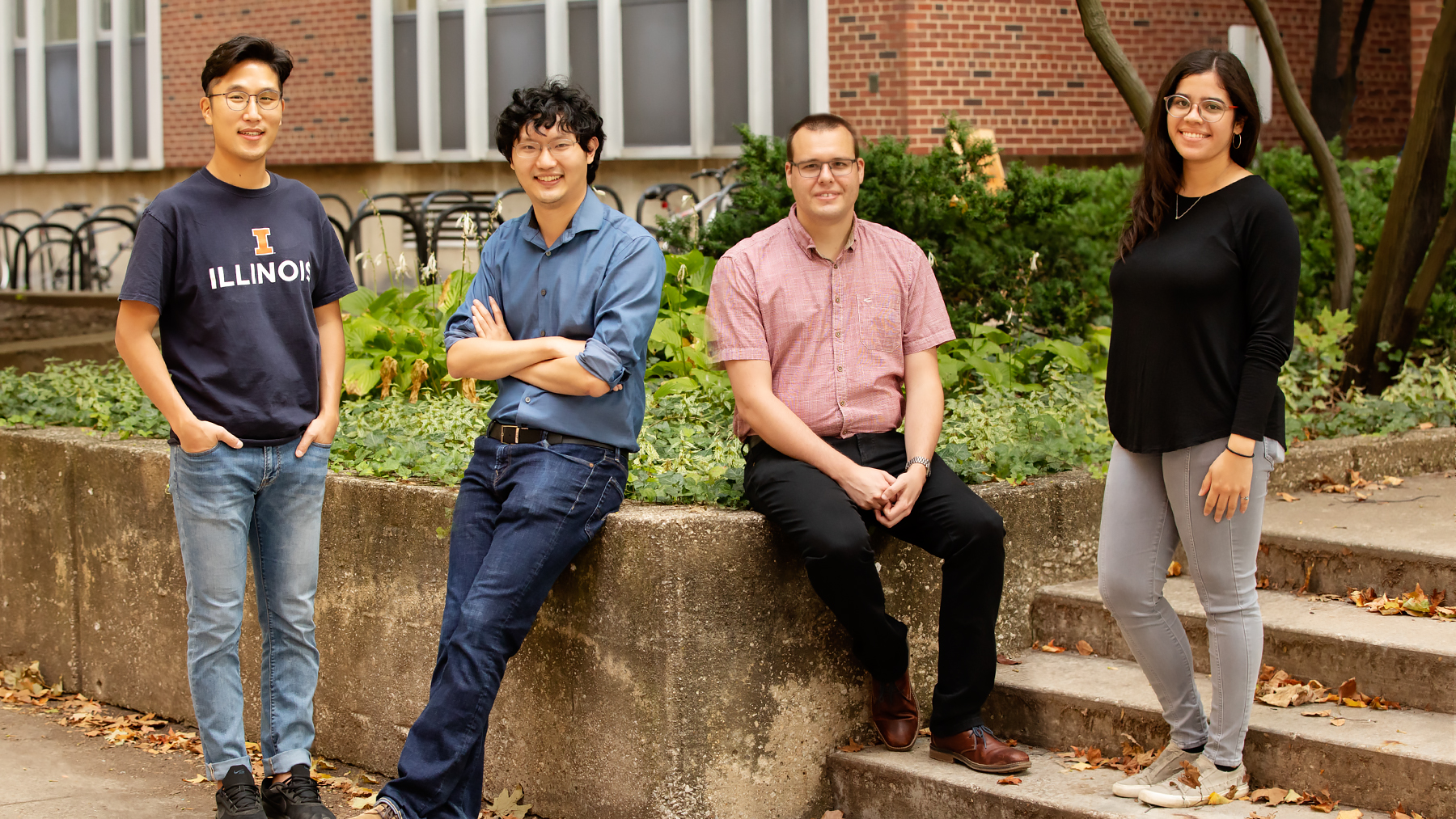 Illinois engineers Kwiyong Kim, left, Xiao Su, Johannes Elbert and Paola Baldaguez Medina are part of a team that developed a new polymer electrode device that can capture and destroy PFAS contaminants present in water.  Photo by L. Brian Stauffer