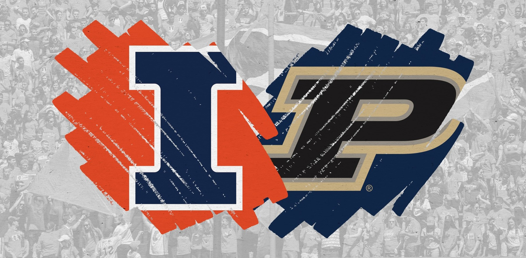 graphic using the Illinois and Purdue athletic logos
