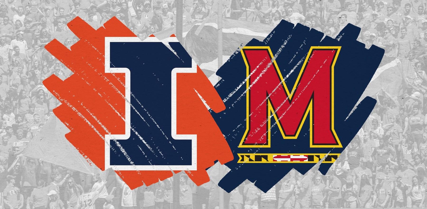 graphic using the Illinois and Maryland athletics logos