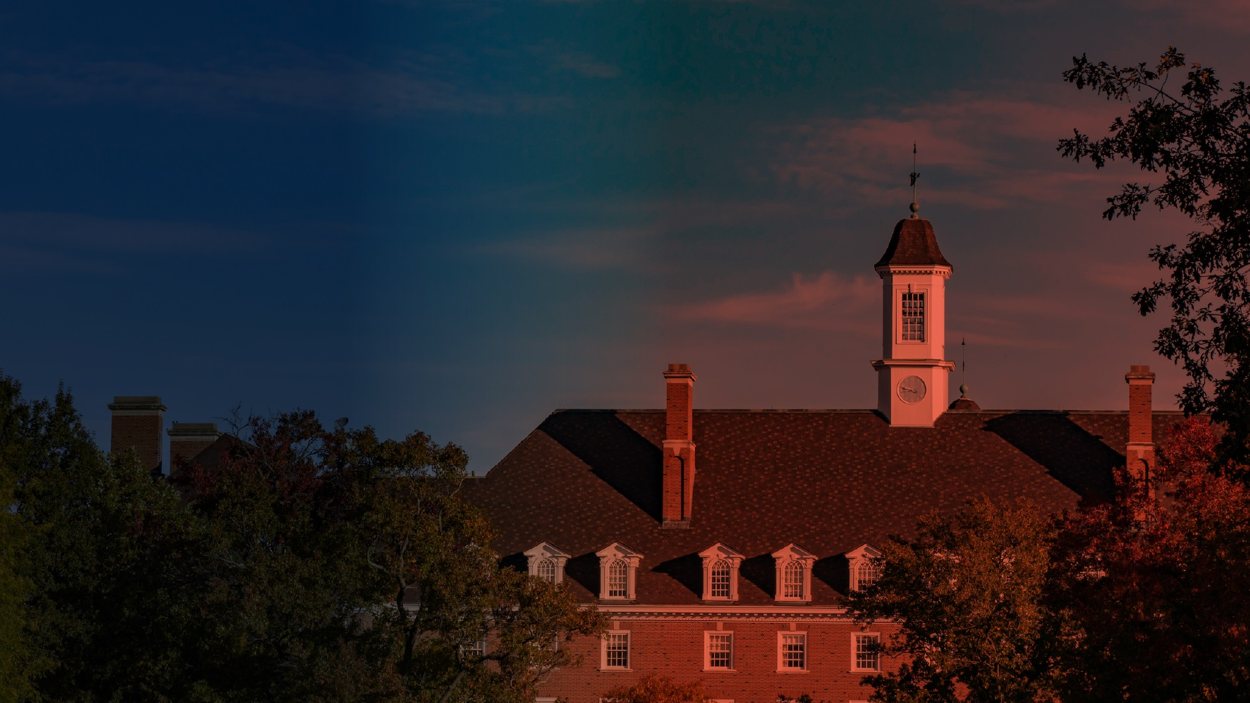 skyline view of the Illini Union with blue and orange filters