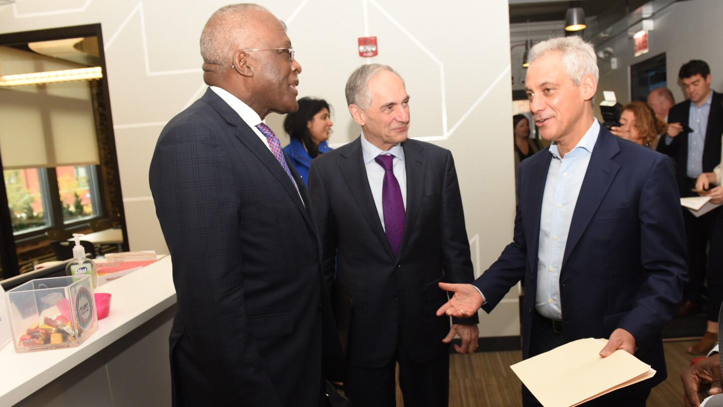 Illinois chancellor Robert Jones, University of Chicago President Robert Zimmer, and Chicago Mayor Rahm Emmanuel