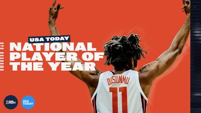 "junior Ayo Dosunmu, shown from teh back with name and number showing, in graphic with text ""USA Today National Player of the Year"""