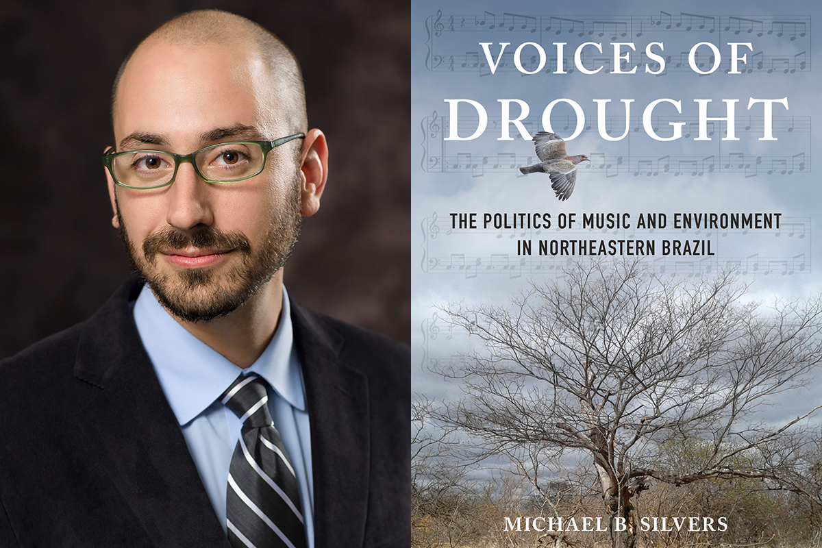Professor Michael Silvers beside the jacket of his book, Voices of Drought