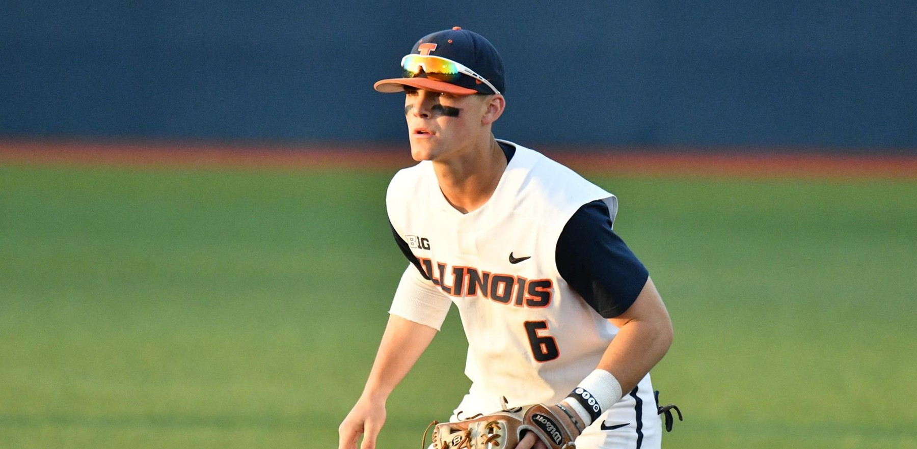 junior Michael Massey playing second base for the Illini