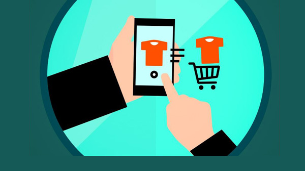 graphic depicts paying for a virtual 'cart' of products with a cell phone