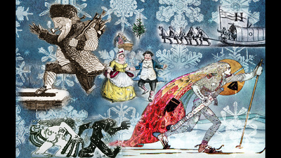 A composite of images from holiday- and winter-themed books at the Rare Book and Manuscript Library. Photos by Fred Zwicky