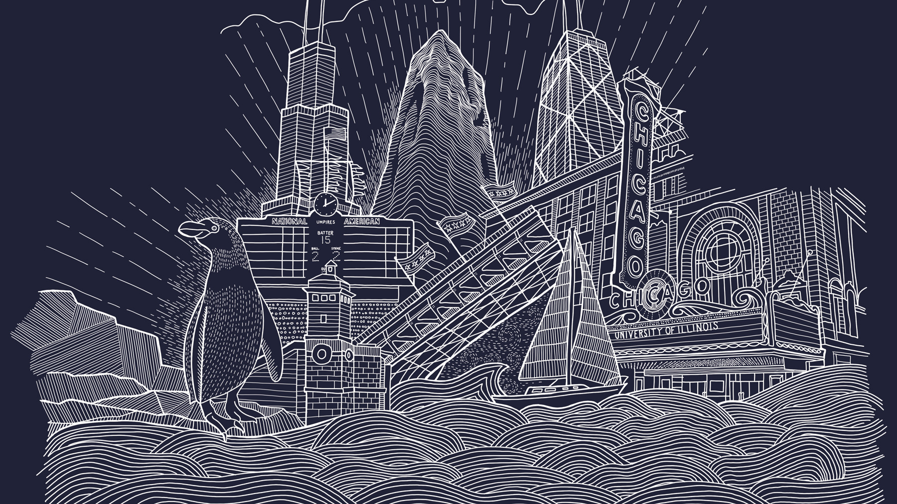 illustration by Nate Azark includes iconic Chicago locations