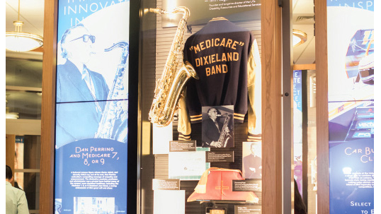 display citing the Medicare dixieland band at the Richmond Family Welcome Gallery