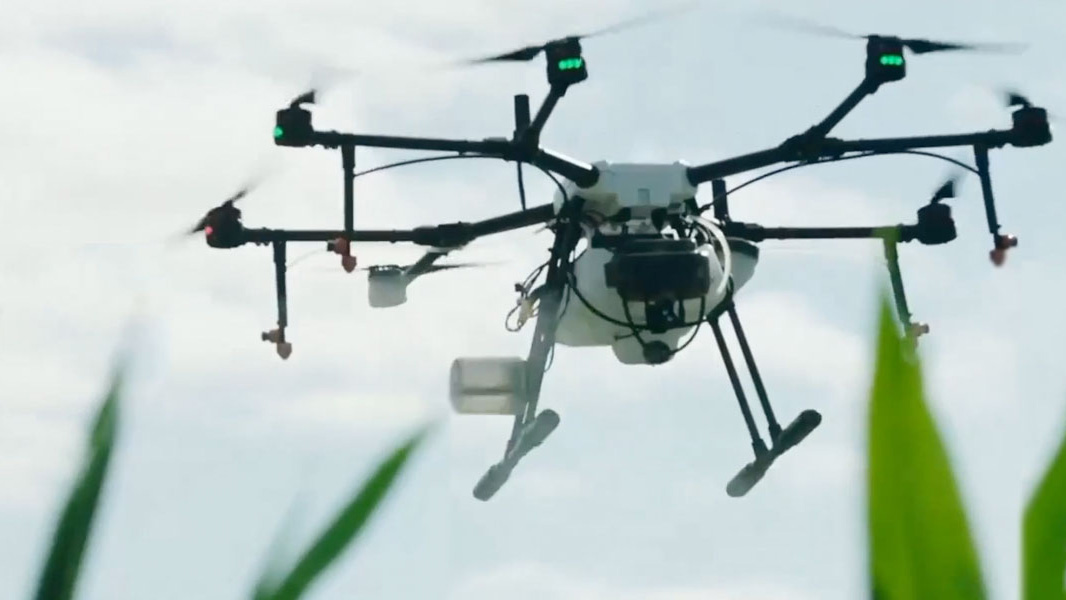 agricultural drone (unmanned aerial vehicle) in flight