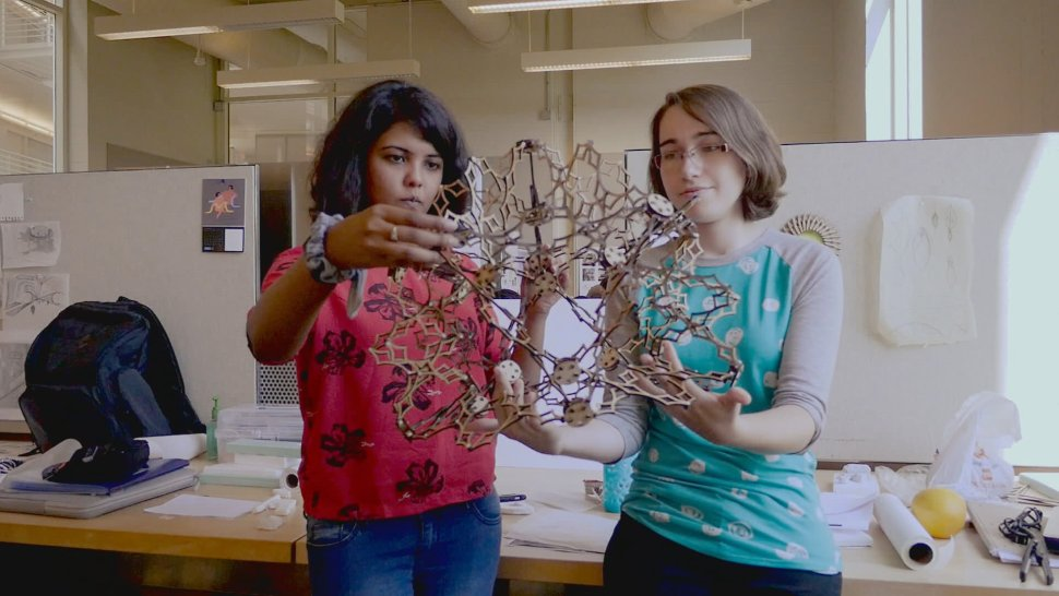 students in Dr. Krishnan's class hold their transformable design