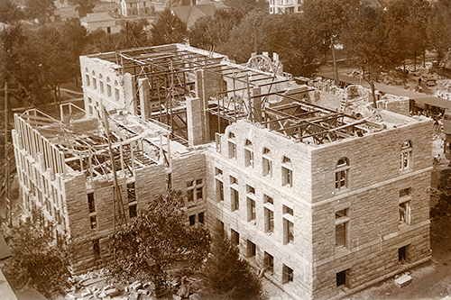 Groundbreaking for the future Altgeld Hall occurred on June 10, 1896. This photo displays the construction effort as the building opened in 1897. (University Archives.)