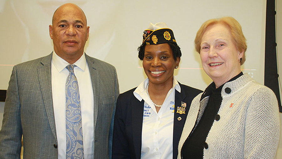 Reggie Alston, interim director of the Chez Center for Wounded Veterans in Higher Education and associate dean of academic affairs at the College of Applied Health Sciences, center is Cheryl Walker, commander of the American Legion's 19th District, and right is Cheryl Hanley-Maxwell, dean of the College of Applied Health Sciences