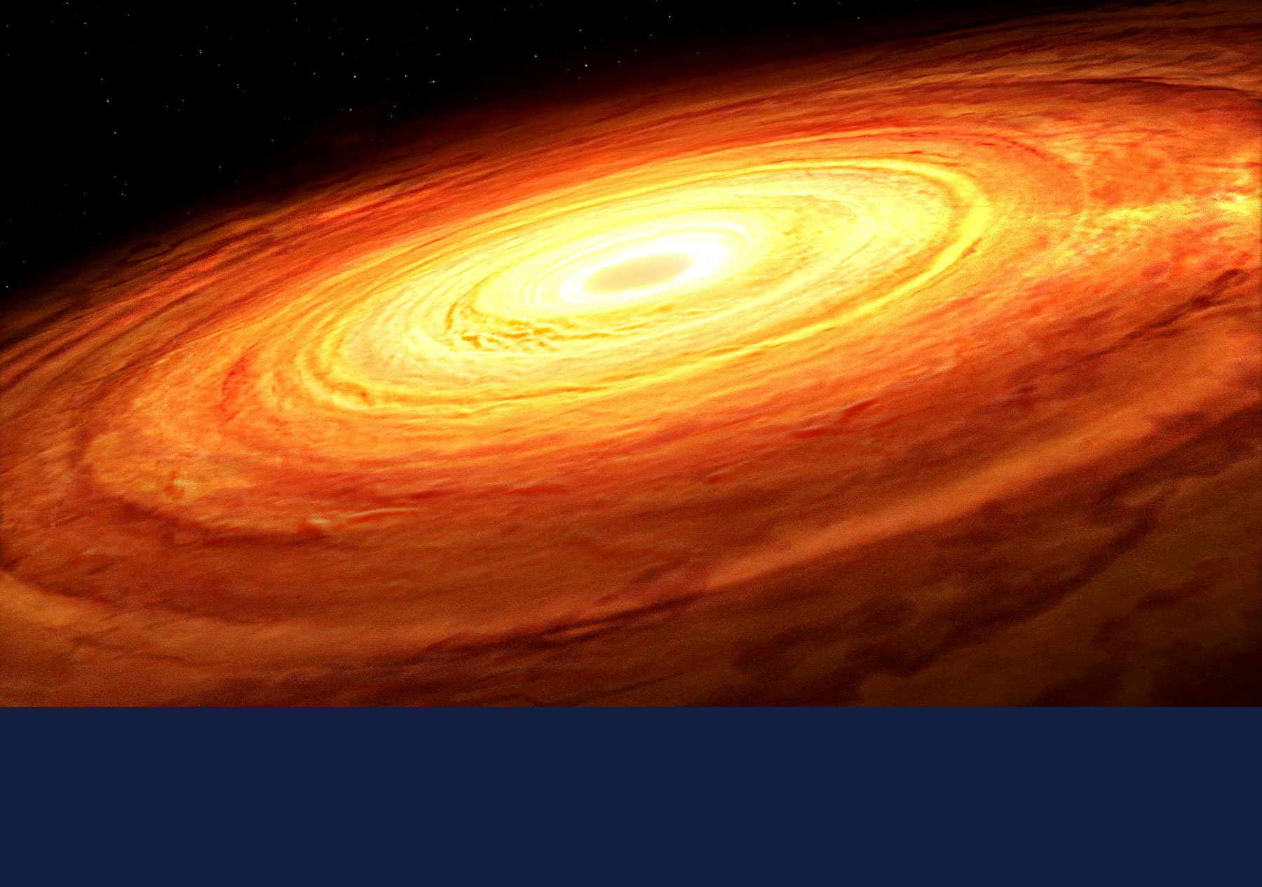 An artist's impression of an accretion disk rotating around an unseen supermassive black hole. Graphic courtesy Mark A. Garlick/Simons Foundation